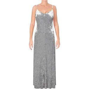 Calvin Klein Silver Crushed Velvet Party Dress
